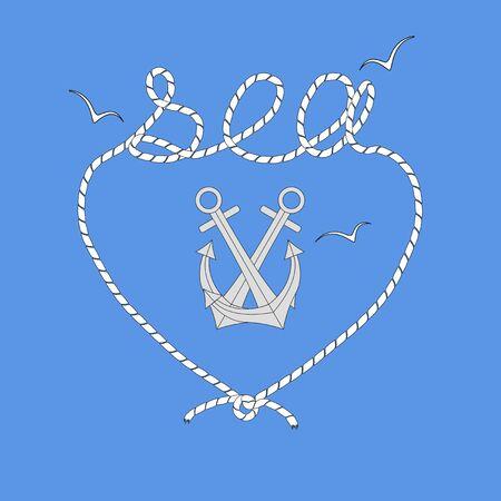 Anchors, heart-shaped frame, sea gulls. Vector symbols of summer holiday. Ilustracja
