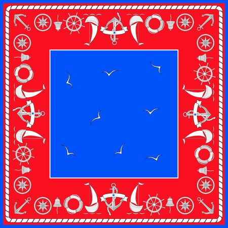 Navigation symbols, sailboats, seagulls. Square composition with border. Color isolated vector in nautical style in the form of a scarf.