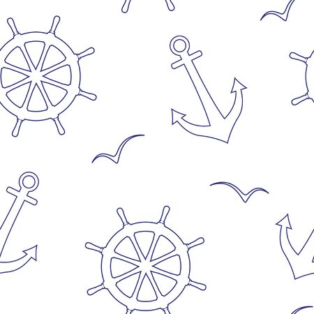 Linear seamless vector pattern of a sea steering wheels, anchors, seagulls.