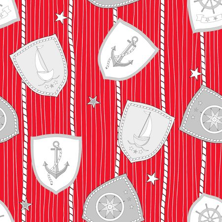 Marine seamless pattern with wheels compasses sailboats anchors wheels on striped background. Vector illustration.