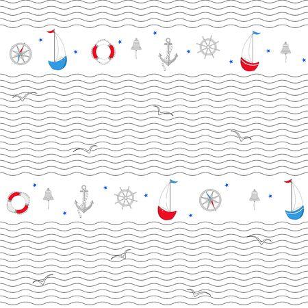 Navigation symbols, sailboats, seagulls. Seamless vector pattern with waves.