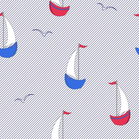 Sailor seamless pattern from cartoon sailboats, seagulls. Color vector on a striped background.