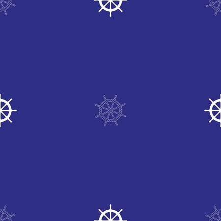 Sailor seamless pattern of two types of ship steering wheels. White vector pattern on blue background.