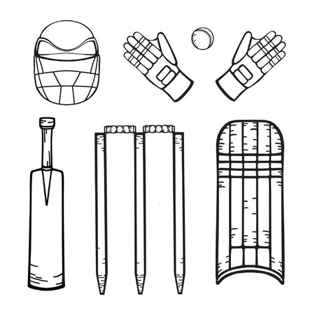 Cricket equipment. Hand drawing in cartoon style. Set of vector isolated icons on white background for coloring and design.