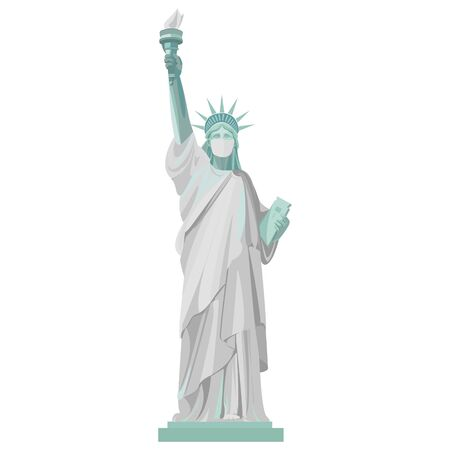 Coronovirus pandemic in the USA. Statue of Liberty in a medical mask. Vector color isolated illustration on a white background. Vektorgrafik