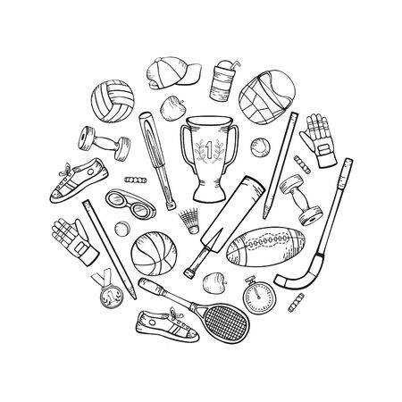 Sports equipment and accessories. Vector hand-drawing in cartoon style. Black and white illustration in a circle isolated on a white background.