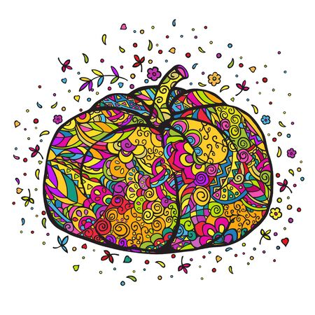 Pumpkin. Hand drawn color doodling. Vector illustration isolated on a white background.