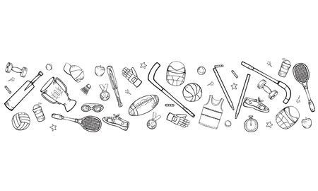 Sports equipment and accessories. Vector hand-drawing in cartoon style isolated on a white background. Horizontal black and white illustration.