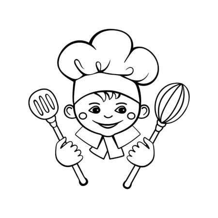 Smiling cute face of a little cook. Hand drawn vector drawing in cartoon style isolated on white background. Black and white icon. Ilustracja