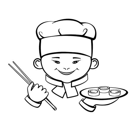 Smiling cute Asian little chef with sushi.  vector icon isolated on white background. Hand drawing.