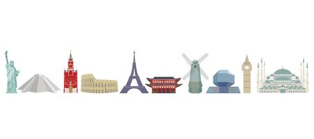 Set of color detailed vector icons of world architectural landmarks. Isolated silhouettes on white background. Ilustracja