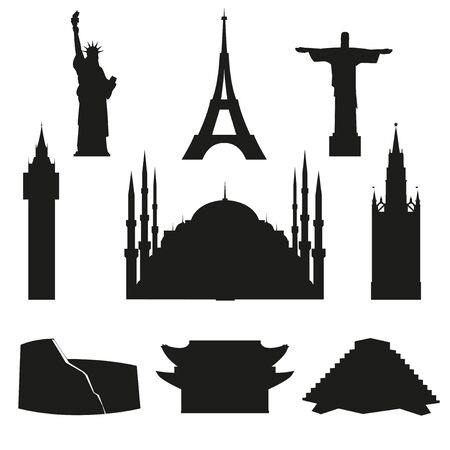 Set of vector icons of world architectural landmarks. Black isolated silhouettes on white background. Ilustracja