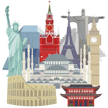 Color vector detailed illustration of a group of world architectural landmarks, Isolated illustration on white background. Travel concept