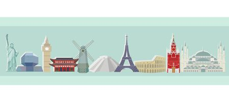 Vector colorful illustration of a panorama of world architectural sights.