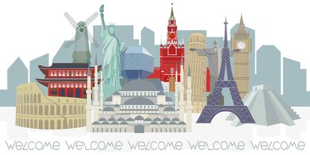 Color vector panorama of world architectural landmarks on the background of the urban landscape. Isolated detailed illustration on white background. Travel concept.