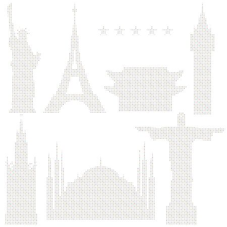 Set of vector illustrations of world landmarks made with an optical effect.