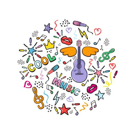 Guitar, music festival. Festive banner in cartoon style. Isolated vector hand drawing on a white background.