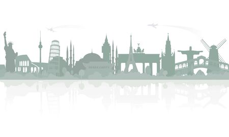 Skyline overlooking world famous architectural landmarks. Sample travel banner, travel advertisements. Vector monochrome isolated illustration. Иллюстрация