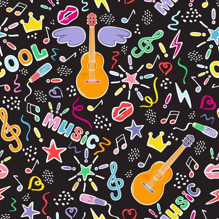 Musical objects and festival holiday signs. Vector seamless bright pattern in cartoon style.