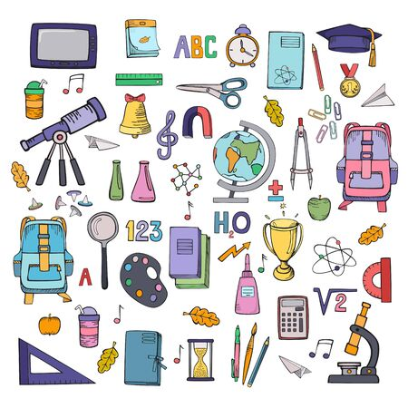 School supplies icon set. Vector colorful illustration. Hand drawings isolated on white background. Ilustracja