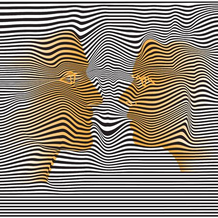 Abstract faces of man and woman in profile on a black and white striped background. Vector illustration. Ilustracja