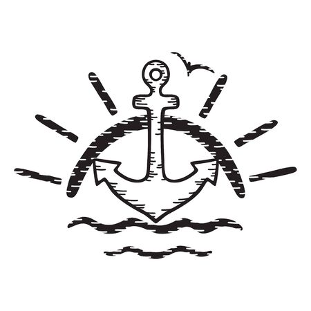Sea anchor, seagull on the background of the rising sun and waves. Isolated black and white vector illustration. Hand drawing in cartoon style. Illustration