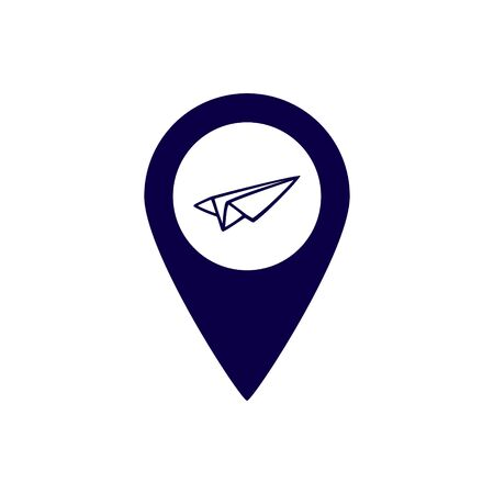 Pointer with a paper plane. Vector icon isolated on a white background. Ilustracja