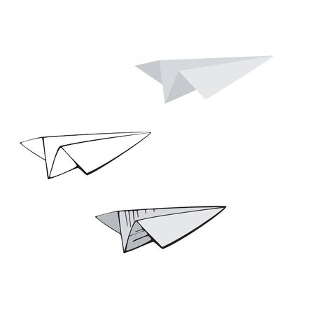 Paper plane. Set of vector icons in different styles isolated on white background.