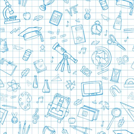 School supplies. Linear cartoon drawings on a squared sheet from a school notebook. Seamless vector pattern.