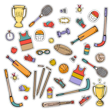Sports equipment and accessories. Set of color vector icons in cartoon style isolated on white background. Ilustracja