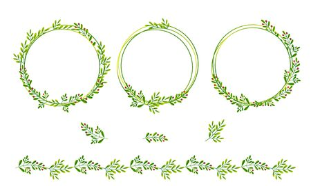 Sprigs with green leaves and red berries. Set of isolated round frames and design elements for the decor of invitations, greetings, environmental packaging.