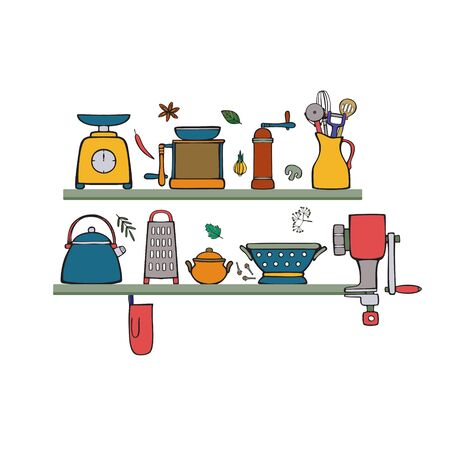 Kitchenware and cooking utensils. Isolated colorful  illustration in cartoon style.