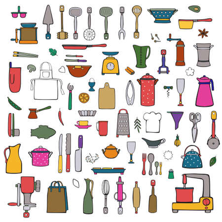 Vector set of kitchen and cook utensils, spices, cap of the chef. Bright color icons isolated on white background. Hand drawings in cartoon style.