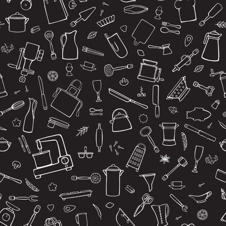 Cook utensils, cooking tools, spices. Cartoon white vector seamless pattern on a black background.  イラスト・ベクター素材