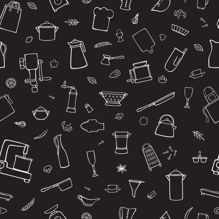 Kitchen utensils, cooking tools, spices. Cartoon white vector seamless pattern on a black background.