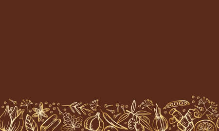 Spice herbs for delicious cooking. Isolated golden vector seamless border frame