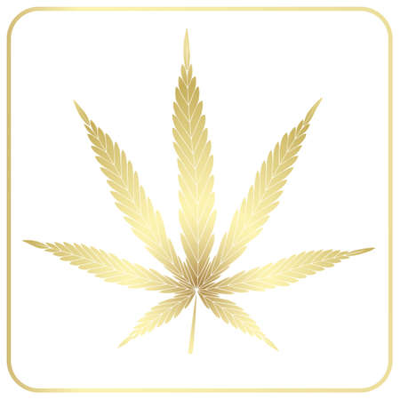 Cannabis leaf. Golden isolated icon on a white background. Silhouette isolated in a frame.
