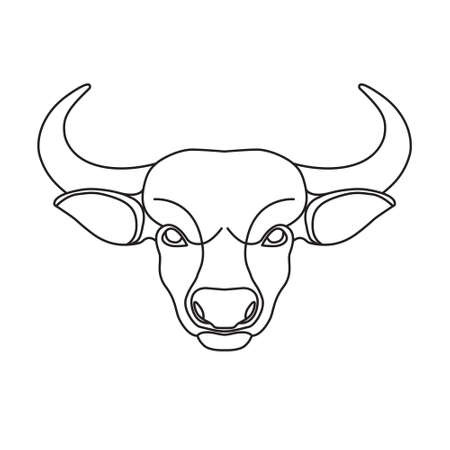 Bull head. Stylized black linear vector icon isolated on white background.