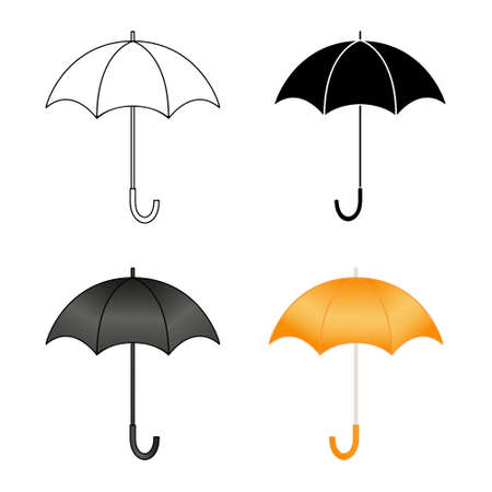 Set of vector icons of umbrellas isolated on white background. Linear, silhouette, color illustrations of open umbrellas.