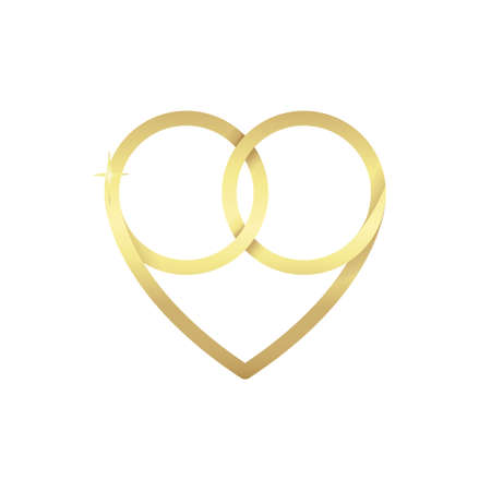 Two gold intertwined rings forming a heart. Wedding vector illustration isolated on white background.