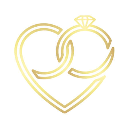 Two wedding gold intertwined rings forming a heart. Vector icon isolated on white background.