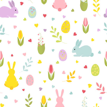 Cute cartoon Easter bunnies with sprigs flowers, hearts.Seamless colorful vector pattern in flat style.