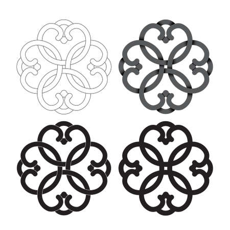 Element of asian historical ornament in a variety of designs for logo, stencils, prints. Vector illustration isolated on white background. Logo