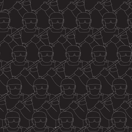 A group of uniformed policemen with buton stand in tight rows. Vector seamless black and white pattern.