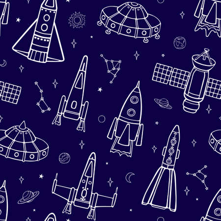Cartoon flying spaceships in outer space among the planets and stars. Seamless vector pattern on a blue background.
