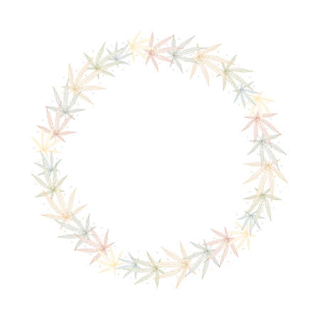 Cannabis leaves. Linear color vector round wreath frame isolated on white background.