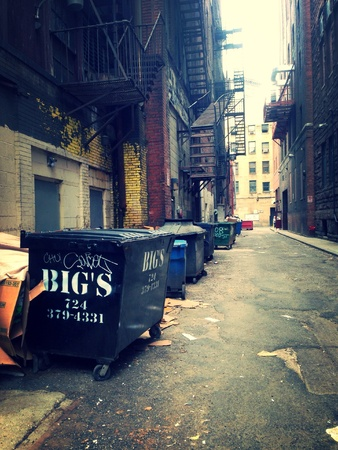 An alley way in the heart of the city of pittsburgh