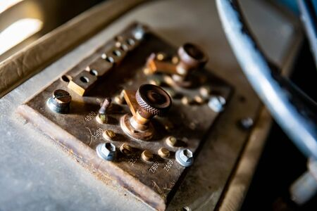 Old Brass Controls on the Dash of an Old 4WD