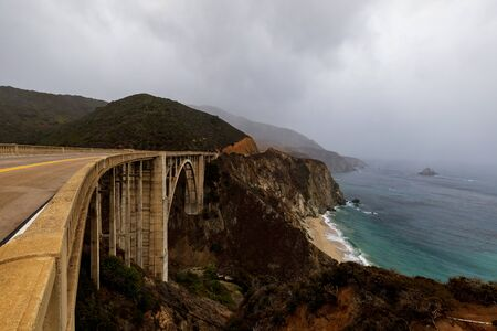 It Never Rains In California, But It Sure Did On This Trip To Big Sur. This Is Bixby Creek Bridge On Highway 1