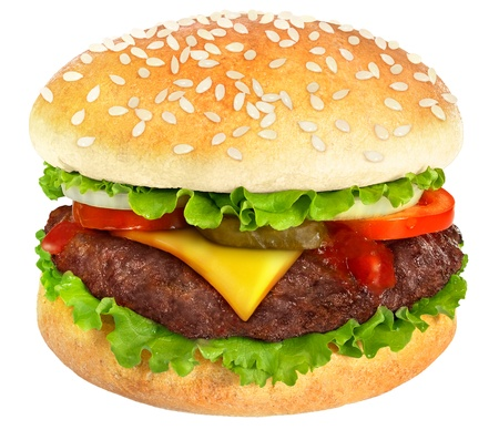 buns: Hamburguesa con queso aisladas sobre fondo blanco